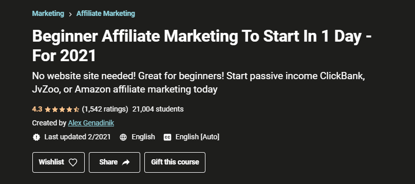 Beginner Affiliate Marketing in 1 Day